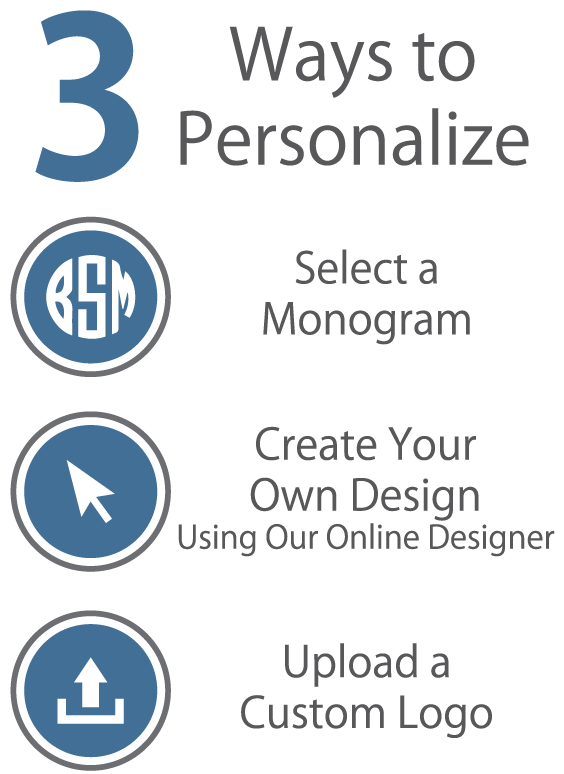 3 Ways to Personalize - Monogram, Design Your Own, Upload a File