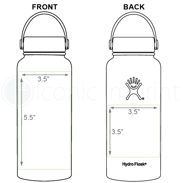Hydro Flask 32 oz Water Bottle Imprint Area